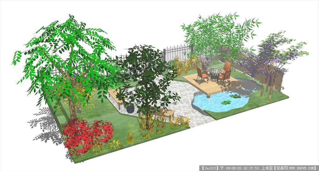 私家小庭院SU模型