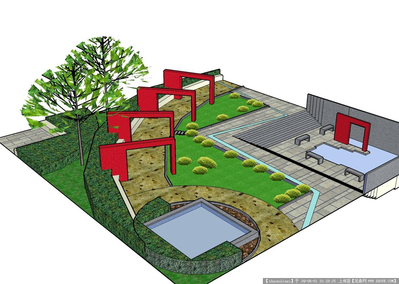 小庭院景观设计的图片浏览,三维模型,园林景观,园林