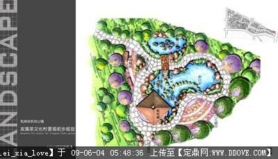 园林小绿地平面效果图;