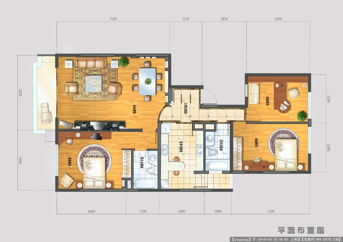 几张住宅家装效果图-平面布置图.jpg 原始尺寸:1200 * 849