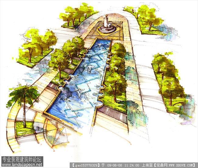 别墅水景手绘效果图;        景观-水景手绘效果.