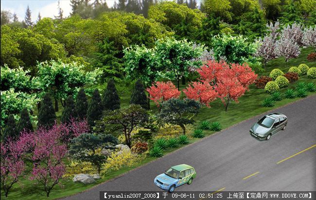 道路绿地绿化效果图