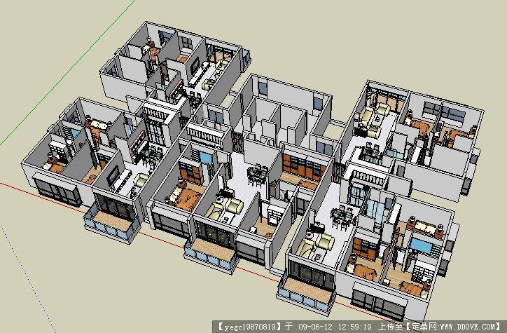 建筑设计标准户型sketchup模型图片