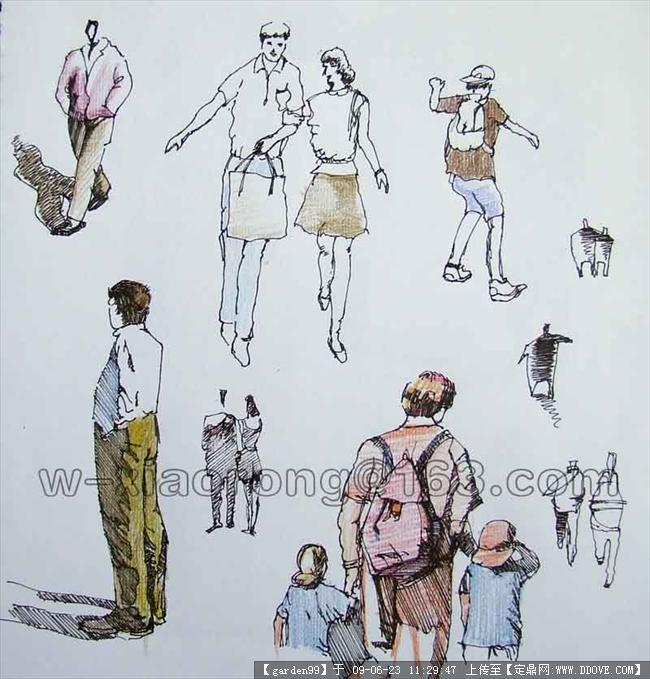 手绘人物素材两张的图片浏览,配景素材,人物素材,园林