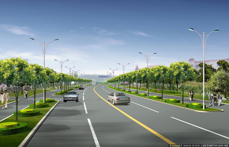 城市道路绿化效果图图片6