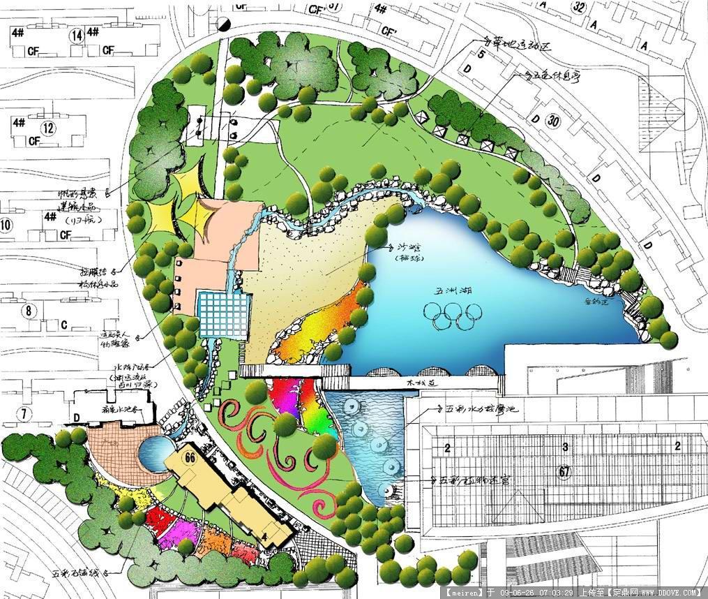 某居住区中心绿地平面效果图