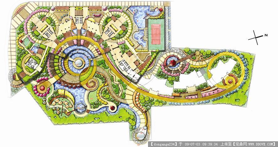 园林方案设计; 广场设计平面图; 校园广场设计效果图