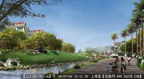 居住区水景绿化室外效果图后期处理