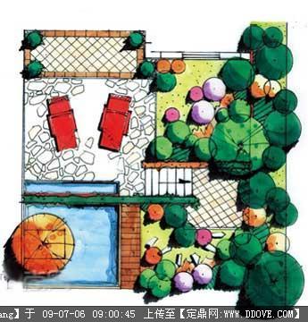 手绘小庭院设计