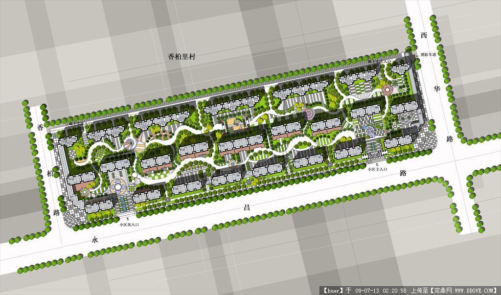 居住区规划设计CAD平面图附加彩图cad能不能偏移矩形图片