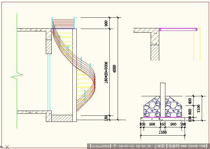螺旋楼梯CAD施工图纸