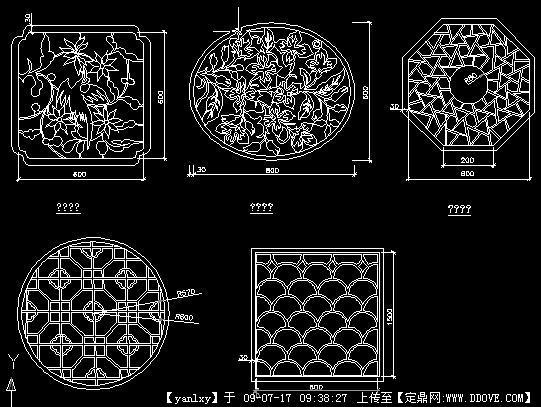 中式花窗cad图块详图图片