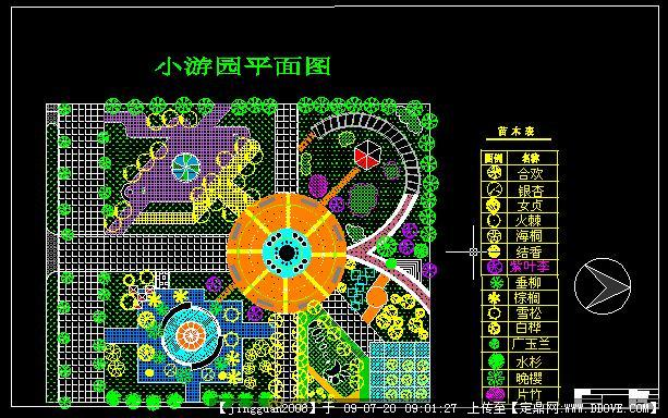 小区广场景观绿化设计方案cad总平面图