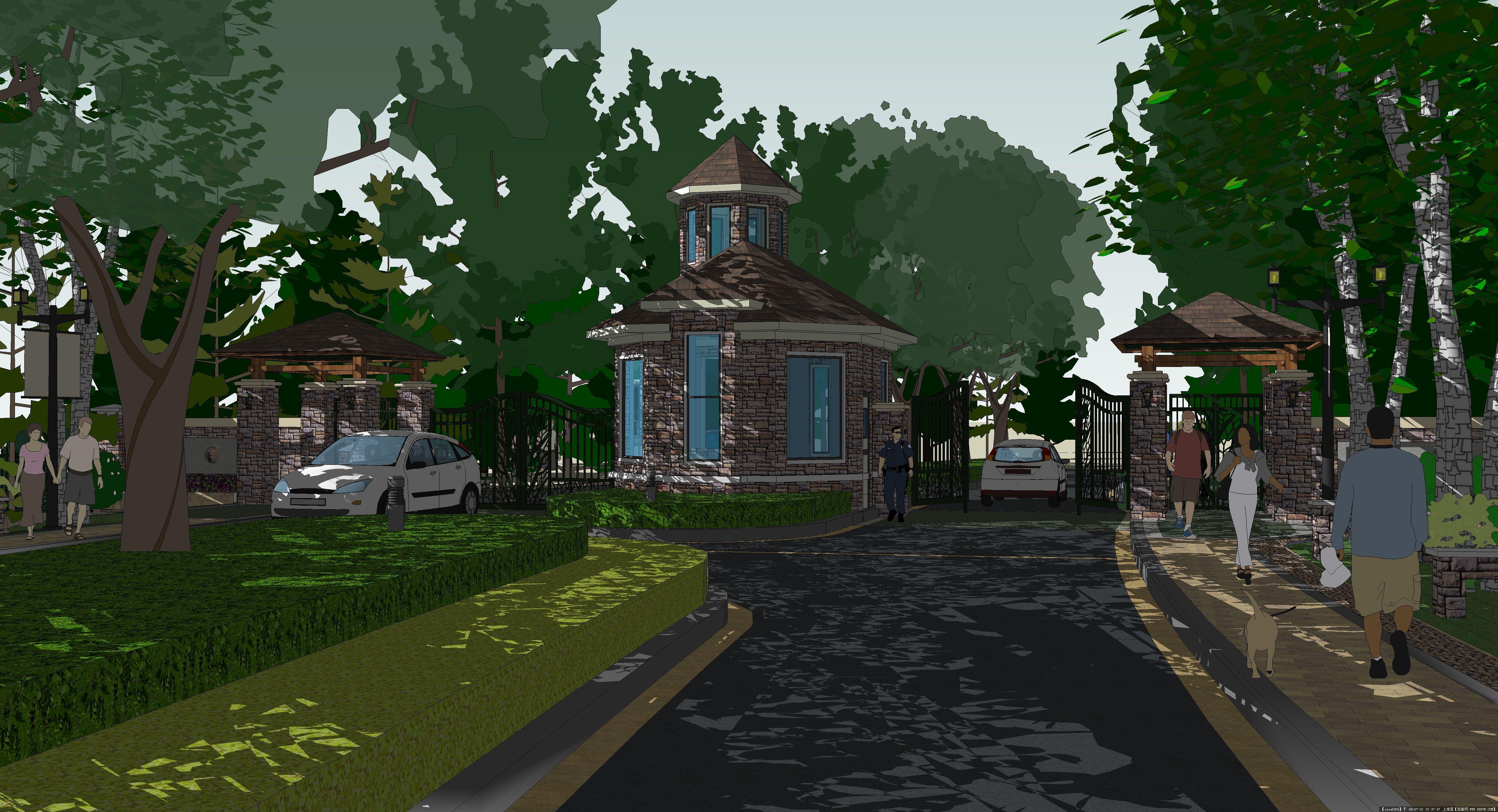 sketchup入口效果图的图片浏览,园林效 果图,居住区,.
