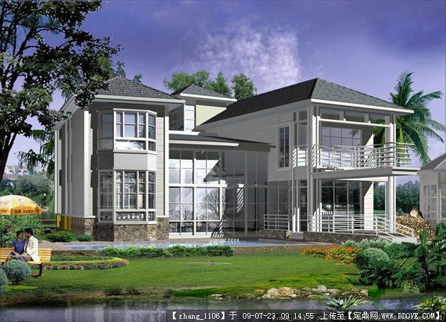 两层别墅建筑设计方案施工图纸及效果图