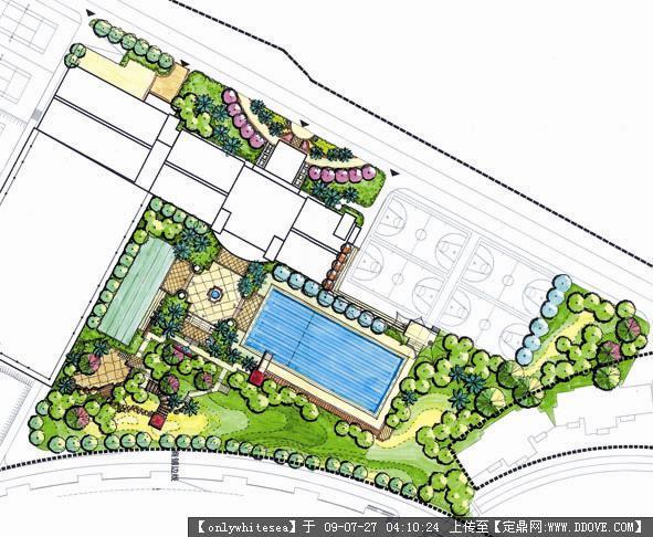 某滨水住宅小区景观设计方案手绘效果图及文本资料