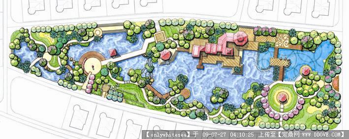 小区景观手绘平面图 广场节点平面图 优秀滨水景观平面图高清图片