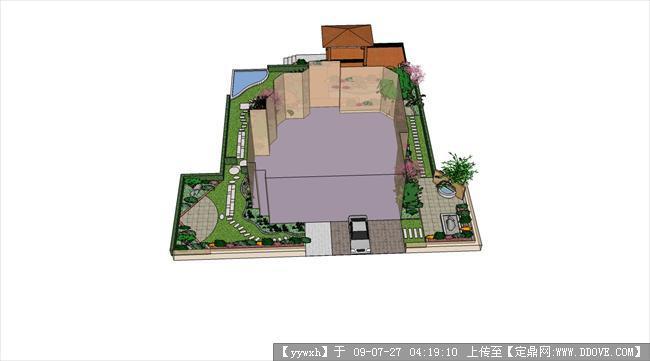 定鼎园林 园林效 果图 花园庭院 某别墅庭院效果图集; 平房小院设计图片