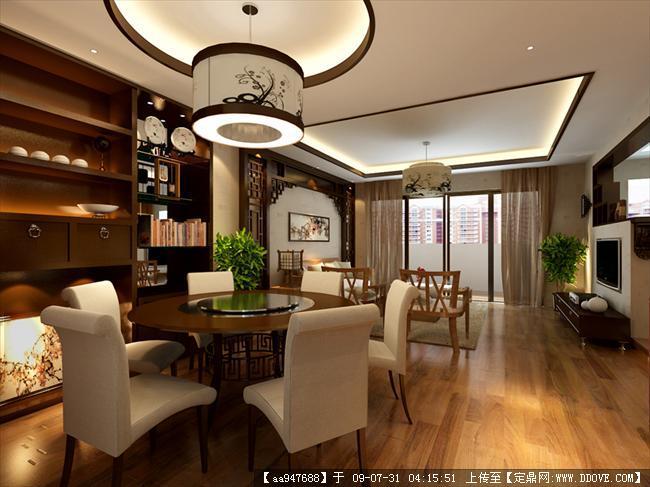 中式风格住宅餐厅室内装饰效果图