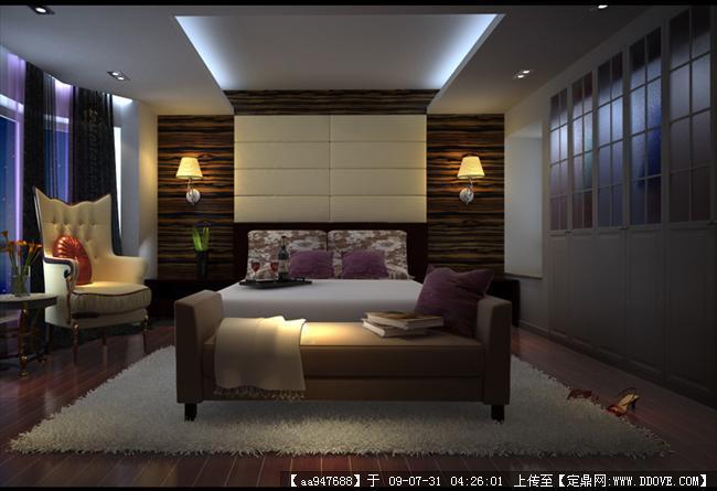 现代风格住宅主人房室内装饰效果图