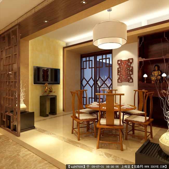 中式风格住宅餐厅室内装饰效果