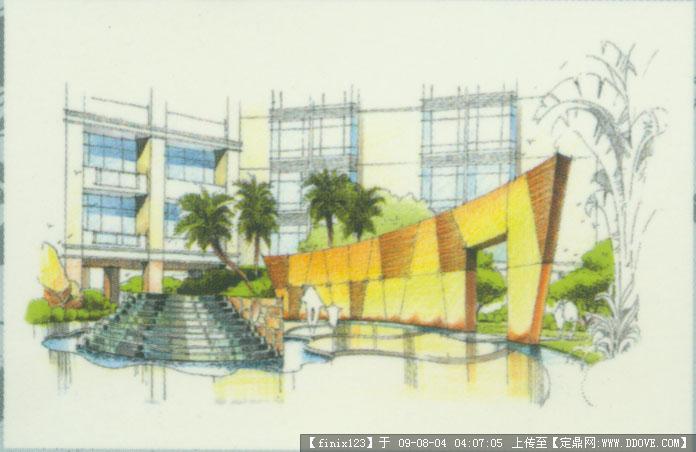 园林; 商业街区景观手绘效果图素材的图片浏览; 室外景墙手绘效果图