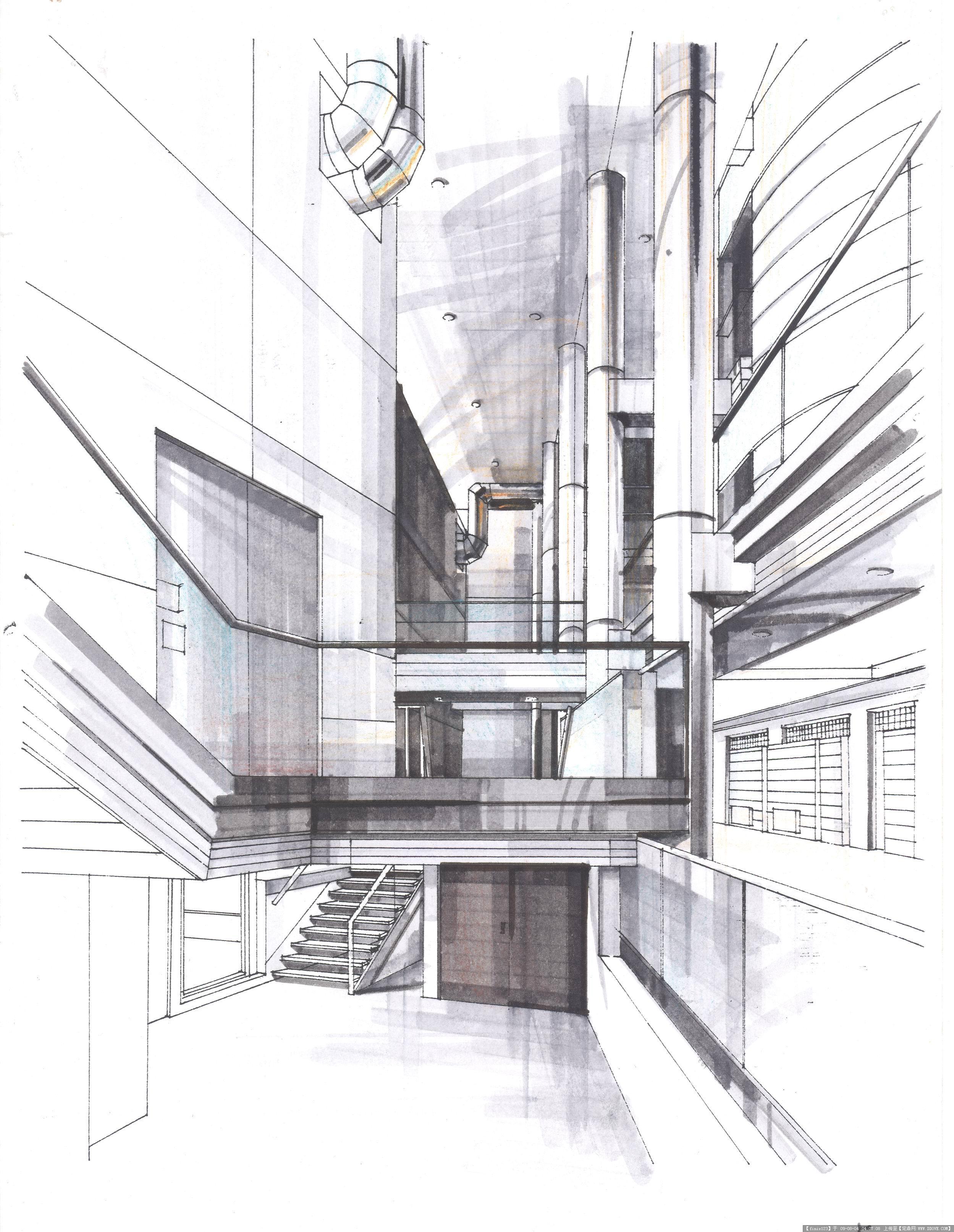 商业街区景观手绘效果图素材