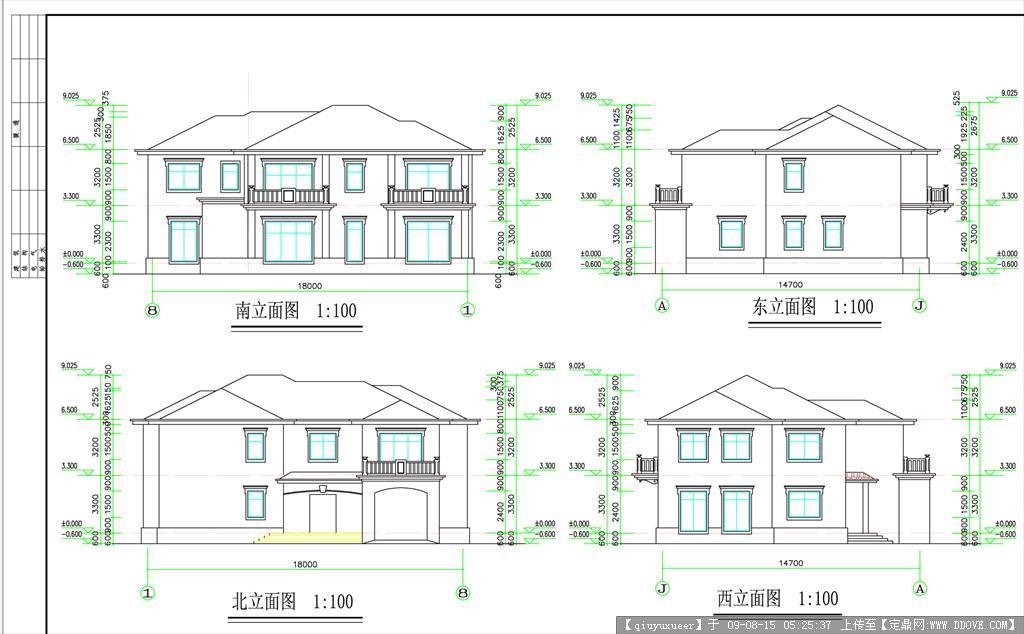 美国别墅户型图cad_五个别墅方案(内附户型图效果图以及CAD文件)