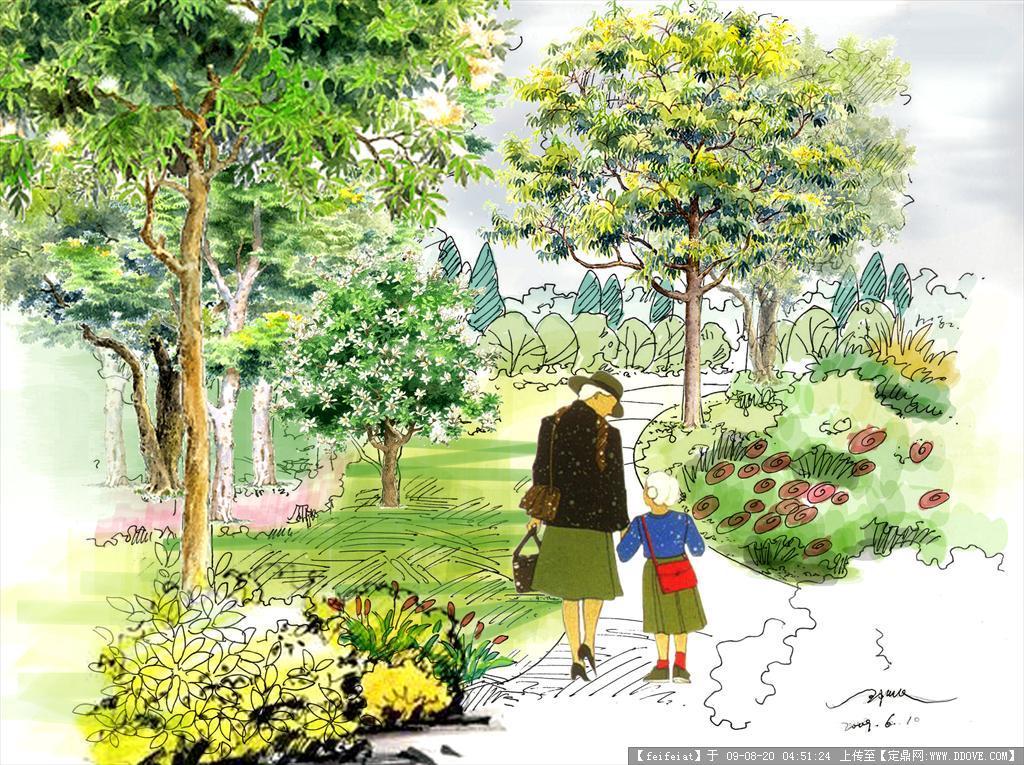 定鼎网 定鼎园林 园林效 果图 公园景观 公园手绘psd格式效果图  序号