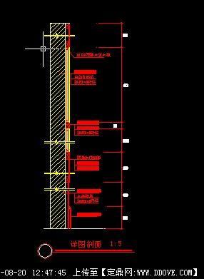 木饰面,玻璃墙节点图