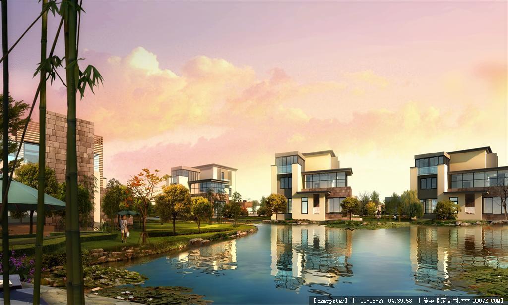 建筑水景园林效果图psd源文件