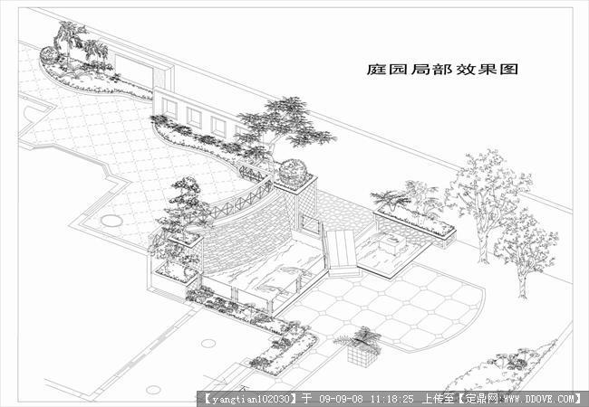 黑白手绘效果-庭院局部鸟瞰景观效果的下载地址