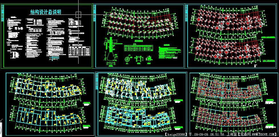 超复杂的底框图纸CAD结构打印一个份分图纸四图片