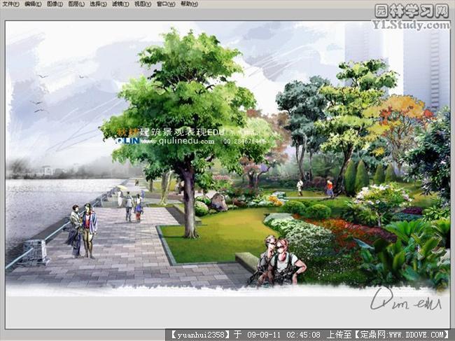 室外景观手绘效果图的图片浏览,园林效 图,手绘效果,园林景观设计