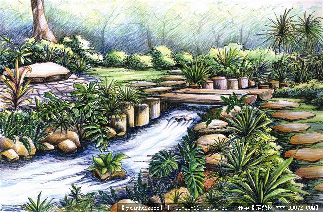 室外景观手绘效果图-木桥溪流