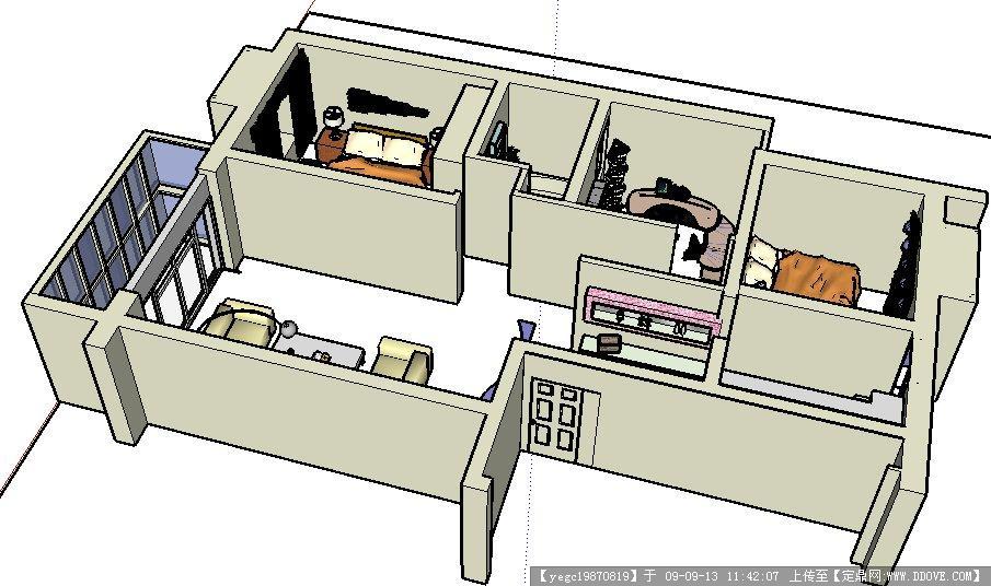 住宅室内sketchup模型图片