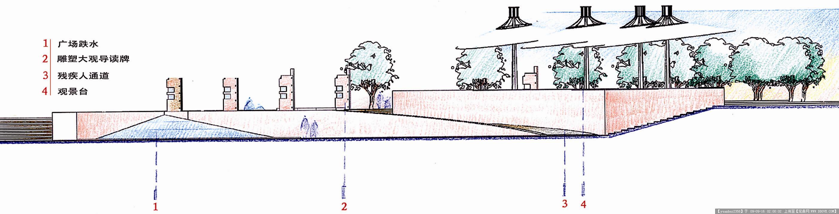 广州番禺星海文化广场体育公园景观-1观景篷剖面.