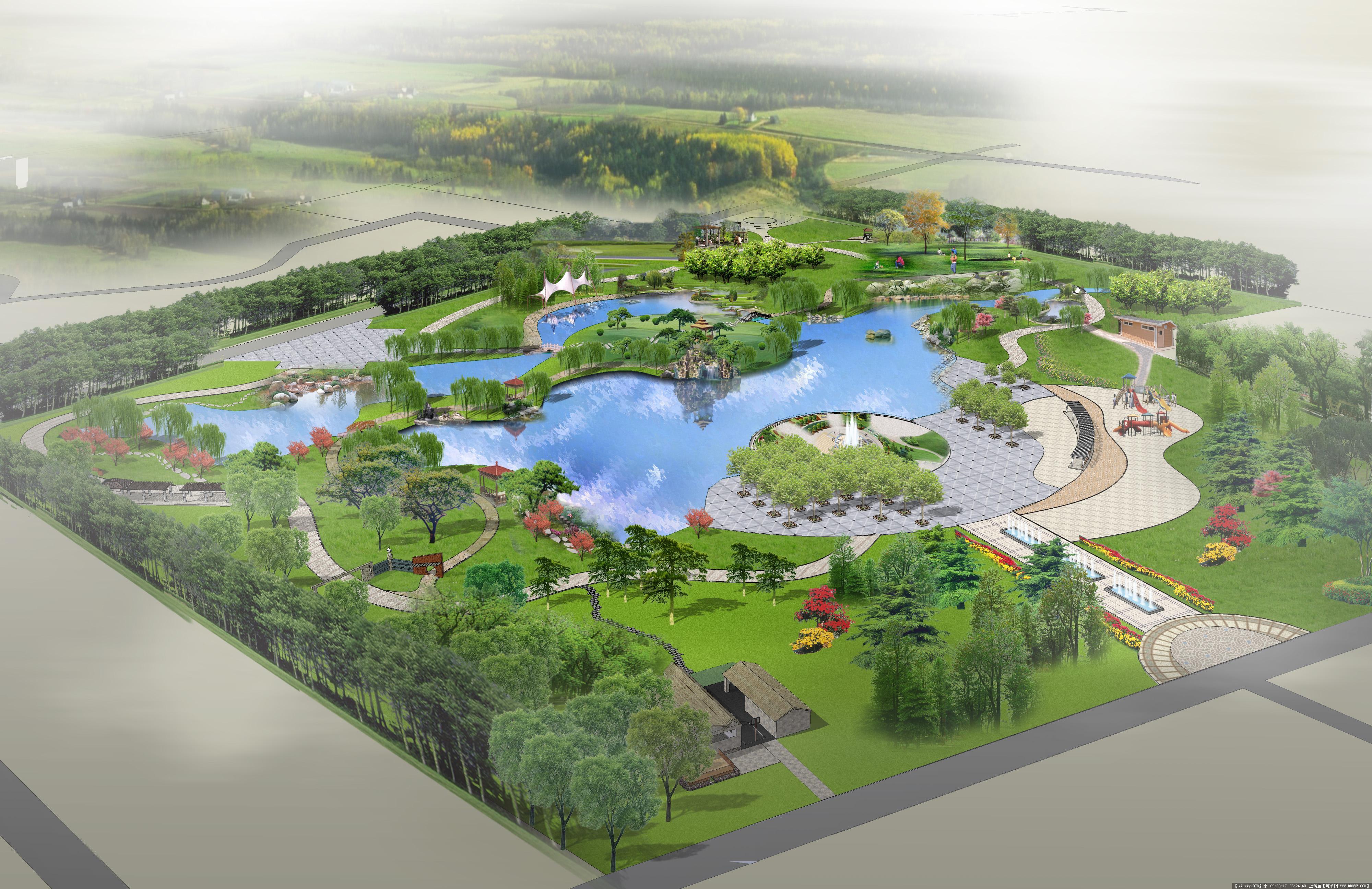 湿地公园景观设计手绘