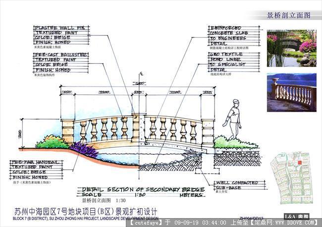 苏州某小区景观扩初手绘文本-dd13景桥剖立面.