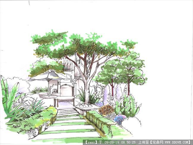 手绘效果图九张的图片浏览,园林效 果图,手绘效果,_.