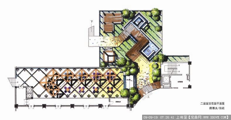 二层屋顶花园平面布置图的下载地址,园林效 果图,花园