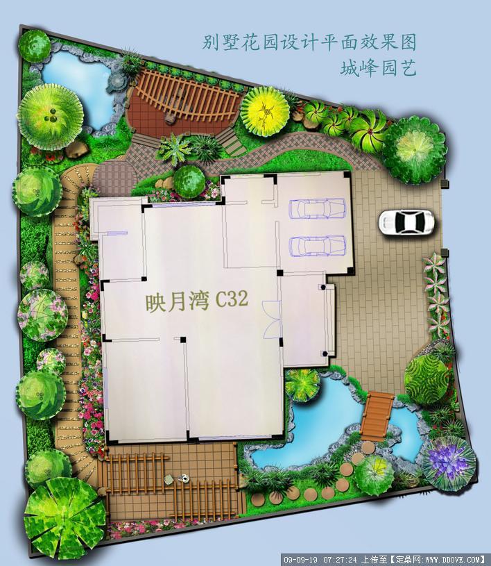私家别墅花园景观设计方案平面效果图