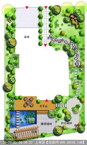 私家庭院 花园 景观方案设计平面效果图图片