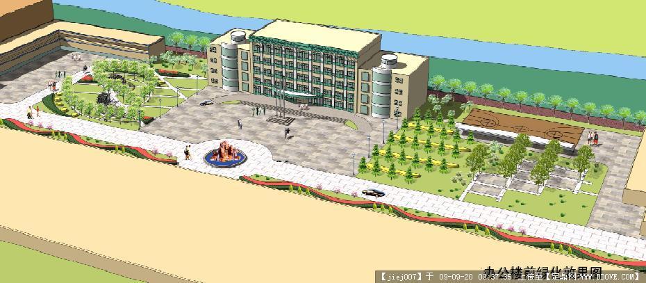 定鼎网 定鼎园林 园林方案设计 公园景观 厂区办公区景观设计鸟瞰效果