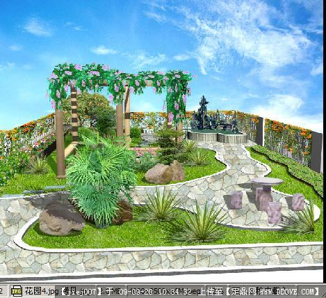 某居住小区景观方案手绘效果图; 厂家专业设计屋顶花园绿化 景观工程