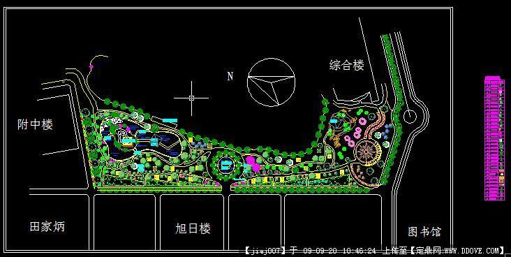 校园局部景观设计方案及植物布置图