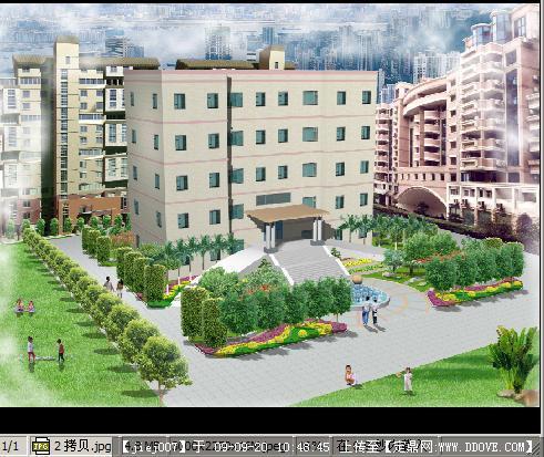 办公楼前绿化方案鸟瞰效果图