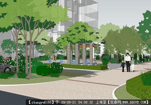 某居住小区景观设计方案sketchup效果图方案