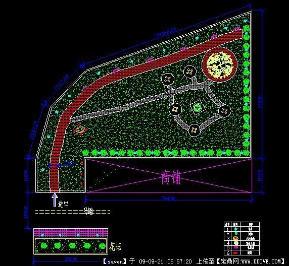 街头绿地景观方案cad园林植物布局图