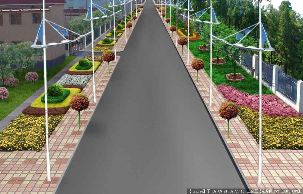 盘锦某小区道路绿化设计图片